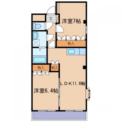 玉島阿賀崎3丁目「サンフィット」 2LDK 賃料¥62,000