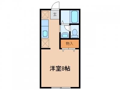 鴨方町六条院中「カルモK」 1K 賃料¥30,000