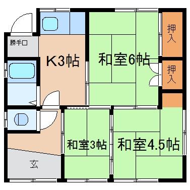 玉島乙島「滝澤借家」 3K 賃料¥39,000