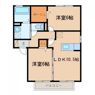 鴨方町六条院東「ラルジュ」 2LDK 賃料¥48,000