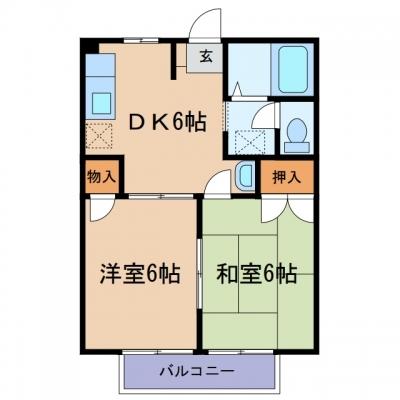 玉島爪崎「ニューシティ小野」 2DK 賃料¥41,000
