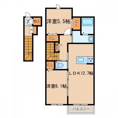 玉島阿賀崎「レザンオークス」 2LDK 賃料¥66,000
