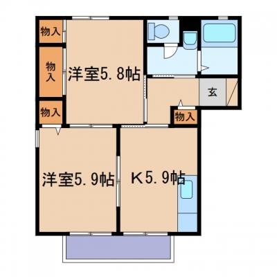 玉島八島「ビット ミストラル」 2K 賃料¥42,000