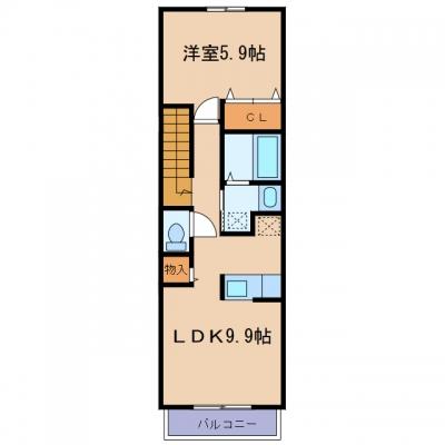 玉島爪崎「トップラインB」 1LDK 賃料¥54,000