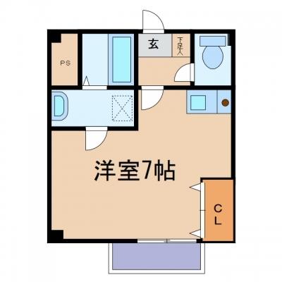 鴨方町六条院中「シャン ド フルール」 1K 賃料¥30,000