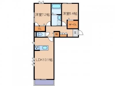 玉島長尾「ドゥーズ ガルテン」 2LDK 賃料¥76,000