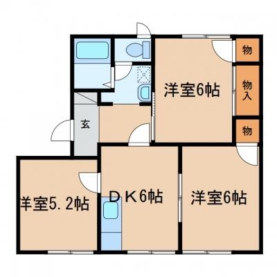 玉島乙島「ファミール岡本Ⅱ」 3DK 賃料¥46,000