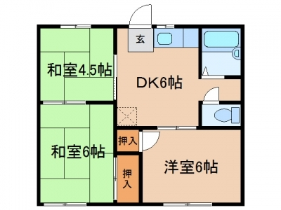 玉島上成「メゾン小山A」 3DK 賃料¥40,000