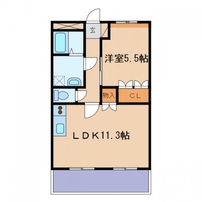 玉島阿賀崎4丁目「エクレセンス」 1LDK 賃料¥48,000
