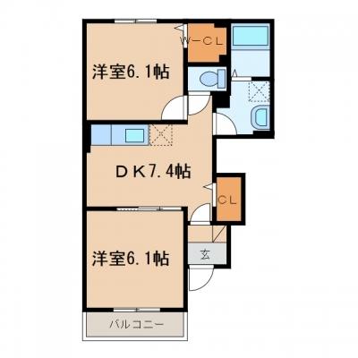 金光町占見新田「ひまわり」 2DK 賃料¥48,000