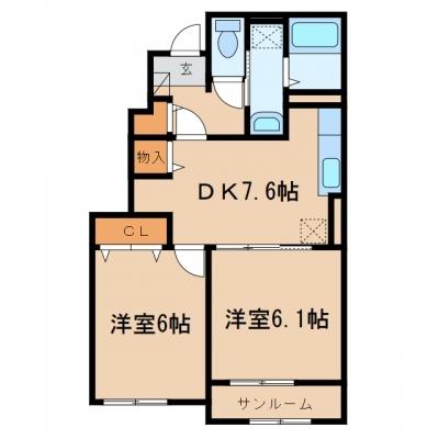 鴨方町六条院東「カメリア ガーデン・HAⅢA」 2DK 賃料¥50,000