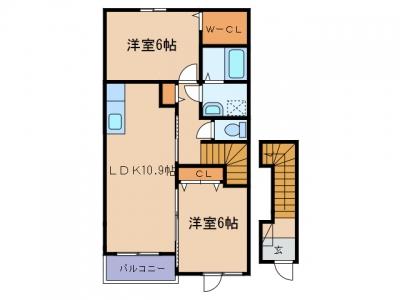 金光町占見「ラ・ルーチェA」 2LDK 賃料¥60,000