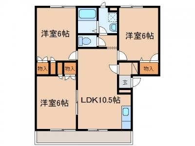新倉敷駅前5丁目「パールメゾンⅡ」 3LDK 賃料¥67,000