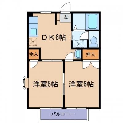 玉島爪崎「ニューシティ小野B」 2DK 賃料¥40,000