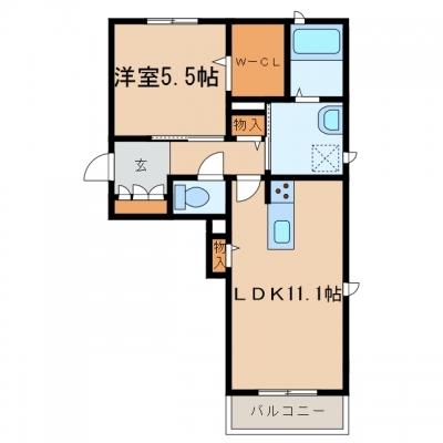 浅口市金光町占見「コンフォーザA」 1LDK 賃料¥52,000