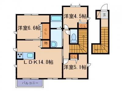 新倉敷駅前3丁目「グランマスト爪崎A」 3LDK 賃料¥76,000