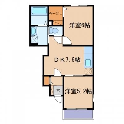 矢掛町矢掛「カルム・プロムナードB」 2DK 賃料¥44,500