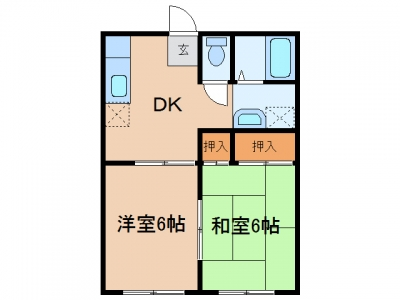 玉島阿賀崎「リベルテ」 2DK 賃料¥38,000