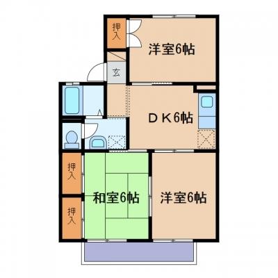 玉島爪崎「ウインズコート」 3DK 賃料¥53,500