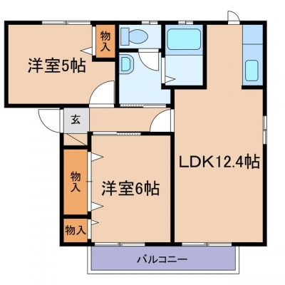 新倉敷駅前3丁目「エル・シャポーA」 2LDK 賃料¥62,000
