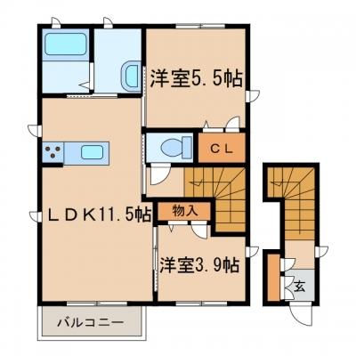 玉島中央町2丁目「ワサンタC」 1SLDK 賃料¥60,000
